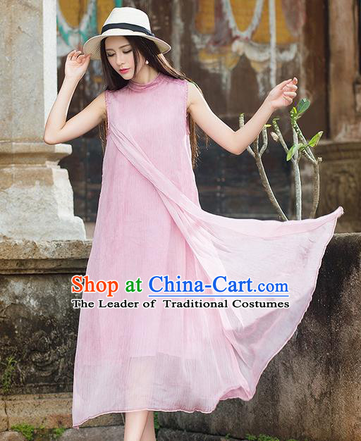 Traditional Ancient Chinese National Costume, Elegant Hanfu Mandarin Qipao Pink Dress, China Tang Suit Chirpaur Republic of China Stand Collar Cheongsam Elegant Dress Clothing for Women