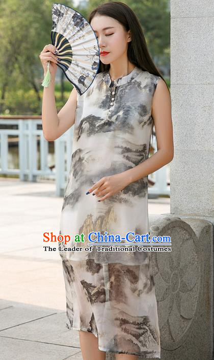 Traditional Ancient Chinese National Costume, Elegant Hanfu Mandarin Qipao Ink Painting Dress, China Tang Suit Chirpaur Republic of China Cheongsam Upper Outer Garment Elegant Dress Clothing for Women