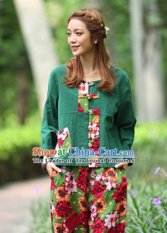Traditional Chinese National Costume, Elegant Hanfu Patch Contrast Color Green T-Shirt, China Tang Suit Republic of China Plated Buttons Blouse Cheongsam Upper Outer Garment Qipao Shirts Clothing for Women