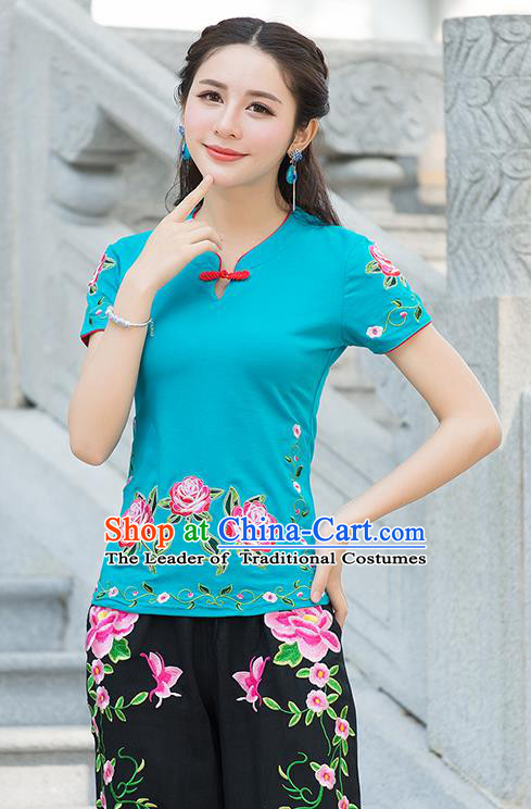 Traditional Chinese National Costume, Elegant Hanfu Embroidery Flowers Blue T-Shirt, China Tang Suit Republic of China Plated Buttons Blouse Cheongsam Upper Outer Garment Qipao Shirts Clothing for Women