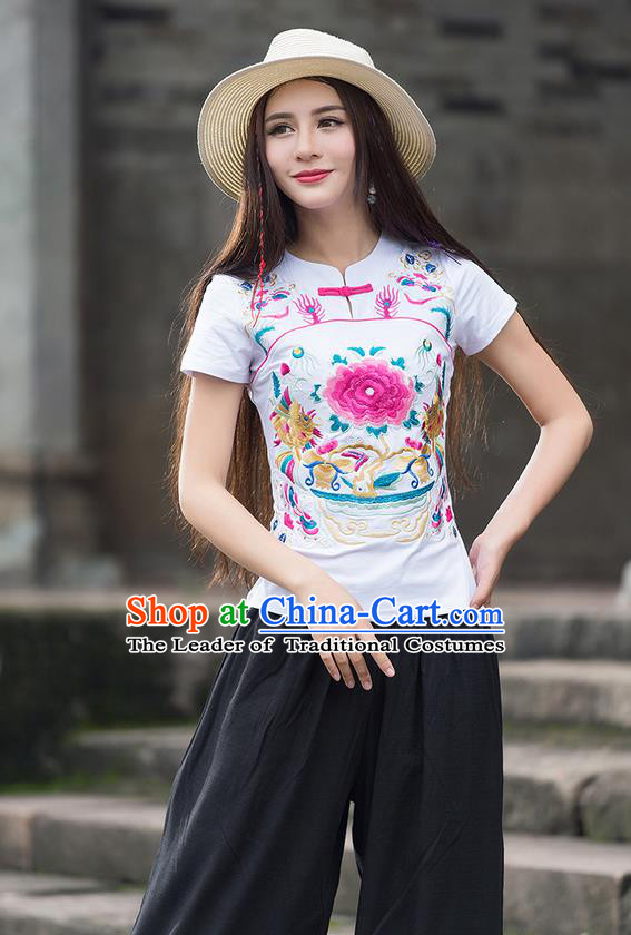 Traditional Chinese National Costume, Elegant Hanfu Embroidery Peony Flowers White T-Shirt, China Tang Suit Republic of China Chirpaur Plated Buttons Blouse Cheong-sam Upper Outer Garment Qipao Shirts Clothing for Women