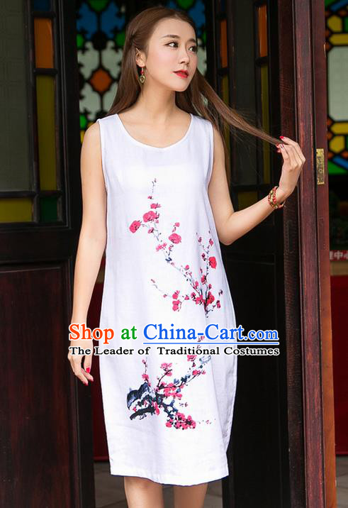 Traditional Ancient Chinese National Costume, Elegant Hanfu Mandarin Qipao Linen Ink Painting Wintersweet Dress, China Tang Suit Chirpaur Republic of China Plated Buttons Cheongsam Elegant Dress Clothing for Women
