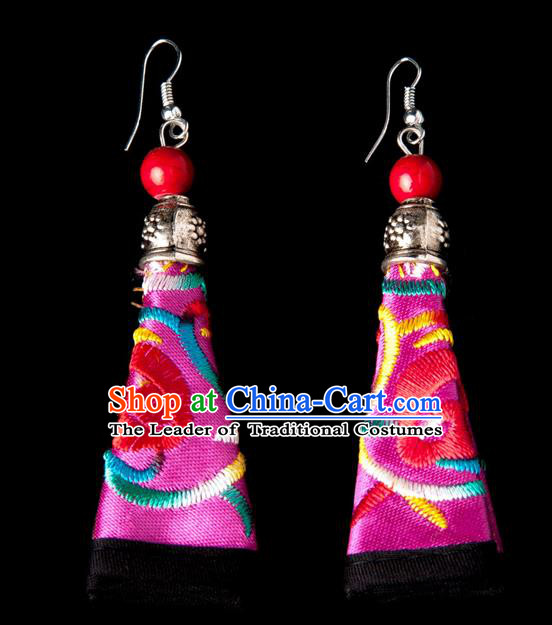 Traditional Chinese Miao Nationality Crafts, Hmong Handmade Miao Silver Embroidery Red Earrings Pendant, China Ethnic Minority Eardrop Accessories Earbob Pendant for Women