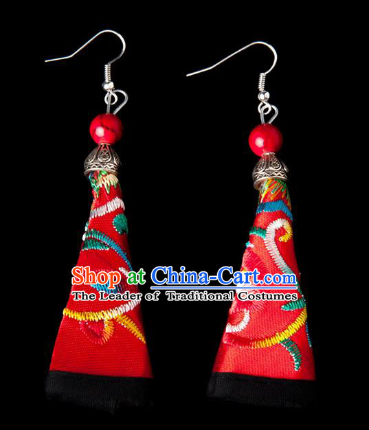 Traditional Chinese Miao Nationality Crafts, Hmong Handmade Miao Silver Embroidery Pink Earrings Pendant, China Ethnic Minority Eardrop Accessories Earbob Pendant for Women