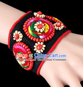 Traditional Chinese Miao Nationality Crafts, Yunan Hmong Handmade Bracelet Black Cuff Hand Decorative, China Miao Ethnic Minority Bangle Accessories for Women
