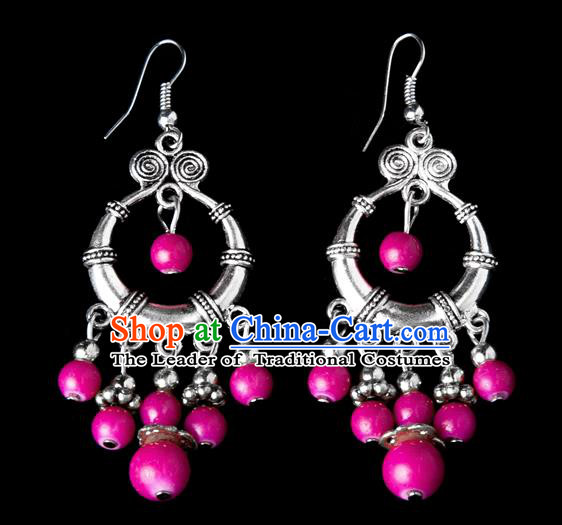 Traditional Chinese Miao Nationality Crafts, Yunnan Hmong Handmade Pink Beads Tassel Earrings Pendant, China Ethnic Minority Eardrop Accessories Earbob Pendant for Women