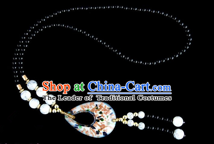 Traditional Chinese Zang Nationality Crafts, China Handmade Tibet Coloured Glaze Beads White Drop-shaped Tassel Sweater Chain, Tibetan Ethnic Minority Necklace Accessories Pendant for Women