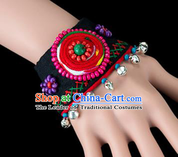 Traditional Chinese Miao Nationality Crafts, Yunan Hmong Handmade Flowers Bracelet Black Cuff Bells Hand Decorative, China Miao Ethnic Minority Bangle Accessories for Women