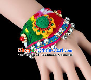 Traditional Chinese Miao Nationality Crafts, Yunan Hmong Handmade Flowers Bracelet Green Cuff Bells Hand Decorative, China Miao Ethnic Minority Bangle Accessories for Women