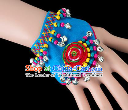 Traditional Chinese Miao Nationality Crafts, Yunan Hmong Handmade Blue Fabrics Bracelet Cuff Bells Hand Decorative, China Miao Ethnic Minority Bangle Accessories for Women