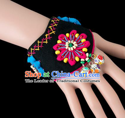 Traditional Chinese Miao Nationality Crafts, Yunan Hmong Handmade Black Fabrics Flower Bracelet Cuff Bells Hand Decorative, China Miao Ethnic Minority Bangle Accessories for Women