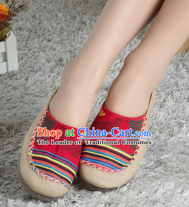 Traditional Chinese Shoes, China Handmade Linen Red Slippers, Ancient Princess Cloth Shoes for Women