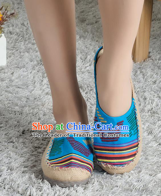 Traditional Chinese Shoes, China Handmade Linen Blue Slippers, Ancient Princess Cloth Shoes for Women