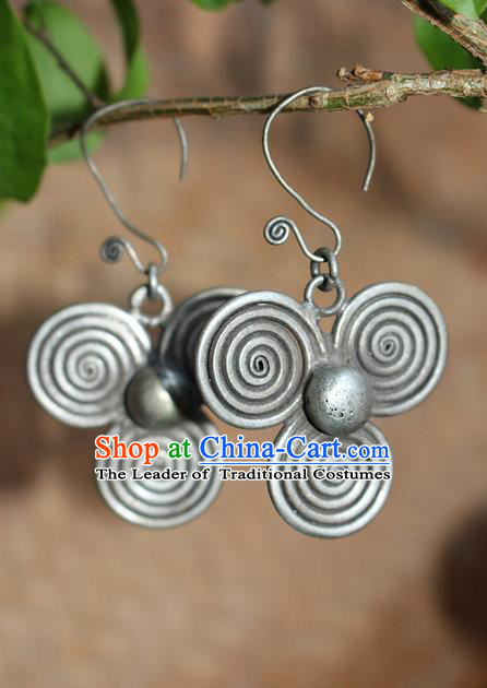 Traditional Chinese Miao Nationality Crafts Jewelry Accessory Classical Earbob Accessories, Hmong Handmade Miao Silver Palace Earrings Ear Pendants, Miao Ethnic Minority Eardrop for Women
