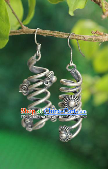 Traditional Chinese Miao Nationality Crafts Jewelry Accessory Classical Earbob Accessories, Hmong Handmade Miao Silver Palace Earrings, Miao Ethnic Minority Eardrop for Women