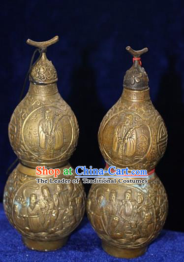 Traditional Chinese Miao Nationality Crafts Decoration Accessory Bronze Cucurbit, Hmong Handmade Chinese Fengshui Gourd Ornaments, Miao Ethnic Minority Exorcise Evil Calabash