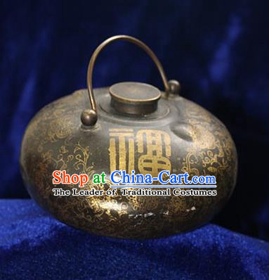 Traditional Chinese Miao Nationality Crafts Decoration Accessory Bronze Flagon, Hmong Handmade Dragon Flagon Ornaments, Miao Ethnic Minority Exorcise Evil Wine Pot