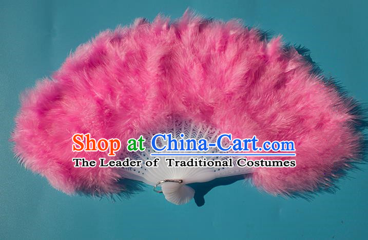 Traditional Handmade Chinese Classical Feather Fans, China Folk Dance Fan Dance Stage Performance Pink Fan for Women