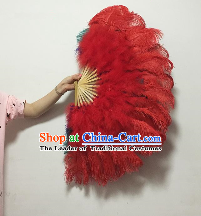 Traditional Handmade Chinese Classical Ostrich Feather Fans, China Folk Dance Fan Dance Stage Performance Red Fan for Women