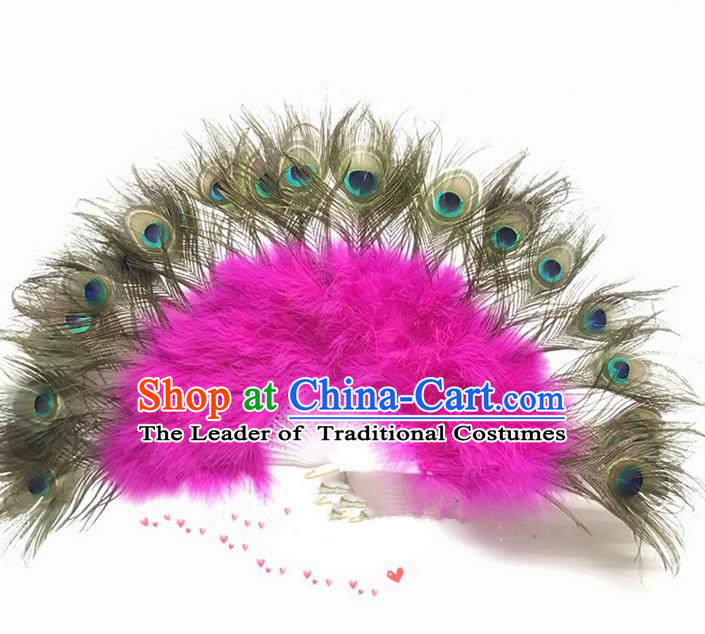 Traditional Handmade Chinese Classical Peacock Feather Fans, China Folk Dance Fan Dance Stage Performance Pink Fan for Women