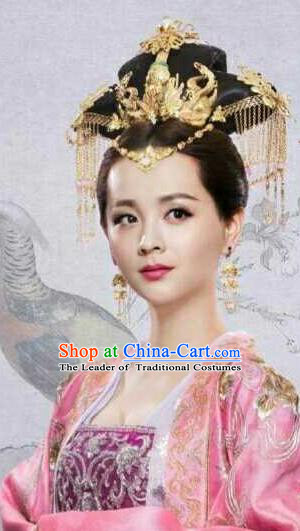 Traditional Handmade Chinese Ancient Classical Hair Accessories Complete Set, Han Dynasty Imperial Consort Phoenix Coronet, Xiuhe Suit Hanfu Hair Sticks Hair Jewellery, Hair Fascinators Hairpins for Women