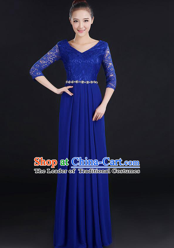 Traditional Chinese Modern Dancing Costume, Women Opening Classic Chorus Singing Group Dance Lace Clothing, Modern Dance Long Blue Dress for Women