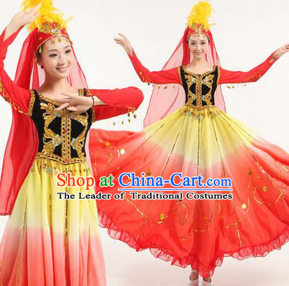 Traditional Chinese Uyghur nationality Dancing Costume, Folk Dance Ethnic Paillette Costume, Chinese Minority Nationality Uigurian Dance Costume for Women