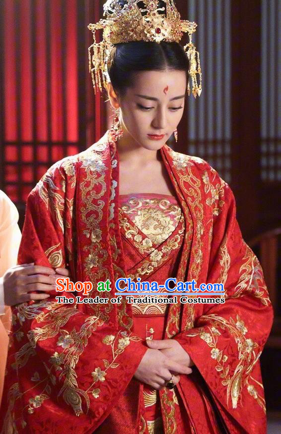 ancient chinese imperial concubine red costumes with long tail