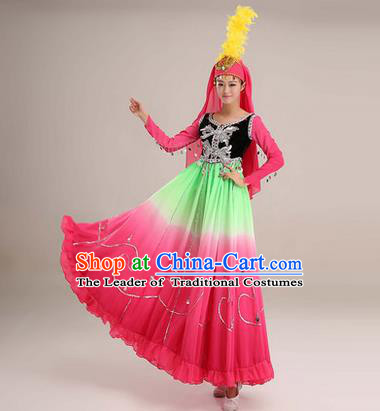 Traditional Chinese Uyghur nationality Dancing Costume, Folk Dance Ethnic Costume, Chinese Minority Nationality Uigurian Dance Big Swing Pink Dress for Women