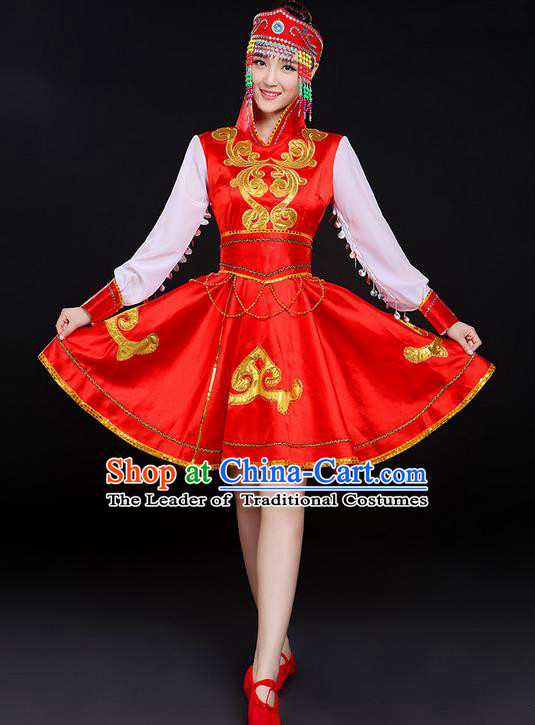 Traditional Chinese Mongol Nationality Dancing Costume, Mongols Female Folk Dance Ethnic Skirt, Chinese Mongolian Minority Nationality Embroidery Costume for Women