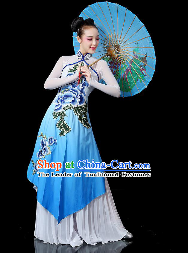 Traditional Chinese Yangge Fan Dancing Costume, Folk Dance Yangko Uniforms, Classic Umbrella Dance Elegant Peony Dress Drum Dance Clothing for Women