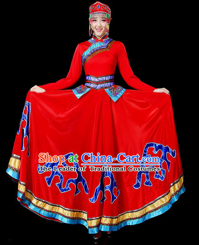 Traditional Chinese Mongol Nationality Dancing Costume, Mongols Female Folk Dance Ethnic Big Swing Dress, Chinese Mongolian Minority Nationality Embroidery Costume for Women
