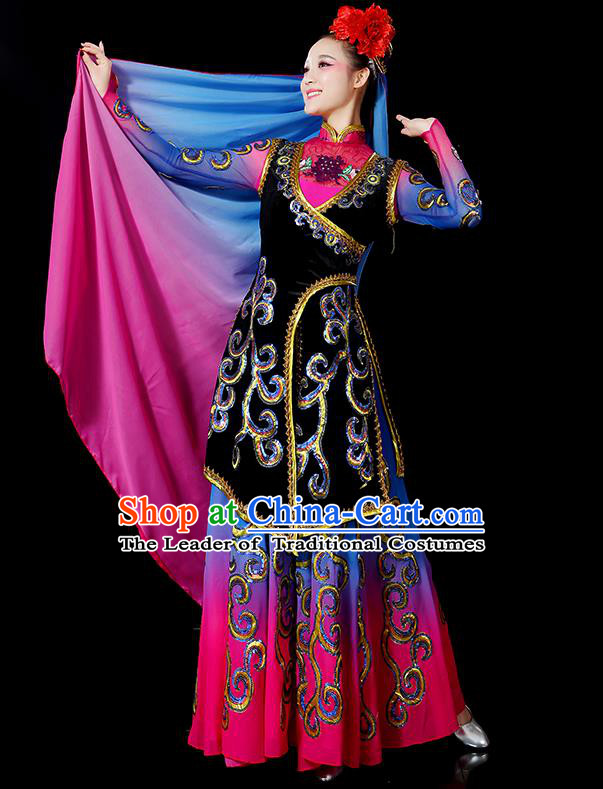 Traditional Chinese Uyghur Nationality Dancing Costume, Folk Dance Ethnic Embroidered Dress, Chinese Minority Nationality Uigurian Dance Costume for Women