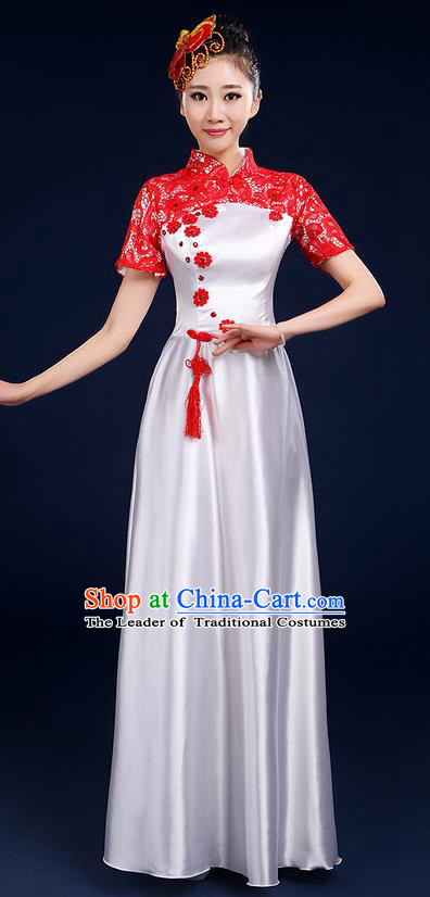 Traditional Chinese Style Modern Dancing Compere Costume, Women Opening Classic Chorus Singing Group Dance Blue and White Porcelain Uniforms, Modern Dance Classic Dance Red Lace Cheongsam Dress for Women