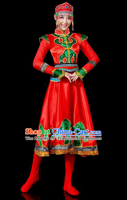 Traditional Chinese Mongol Nationality Dancing Costume, Mongols Female Folk Dance Ethnic Palace Princess Dress, Chinese Mongolian Minority Nationality Embroidery Red Costume for Women