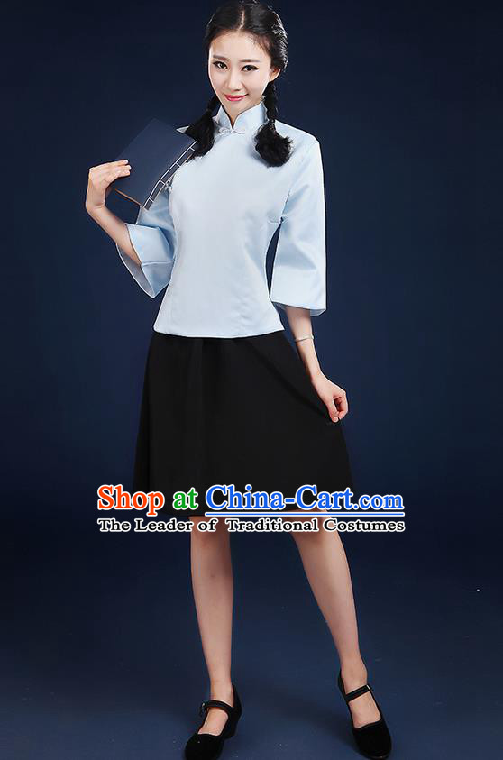 Traditional Chinese Style Modern Dancing Compere Costume, Women Chorus Singing Group Opening Classic Dance Republic of China Students Light Blue Uniforms, Modern Dance Cheongsam Blouse Dress for Women