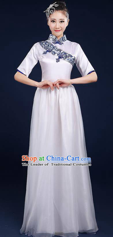 Traditional Chinese Style Modern Dancing Compere Costume, Women Opening Classic Chorus Singing Group Dance Blue and White Porcelain Uniforms, Modern Dance Classic Dance Cheongsam Dress for Women