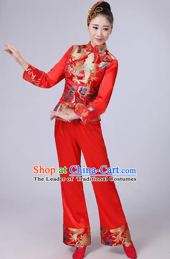Traditional Chinese Yangge Fan Dancing Costume, Folk Dance Yangko Satin Dragon Uniforms, Classic Umbrella Dance Elegant Dress Drum Dance Red Clothing for Women