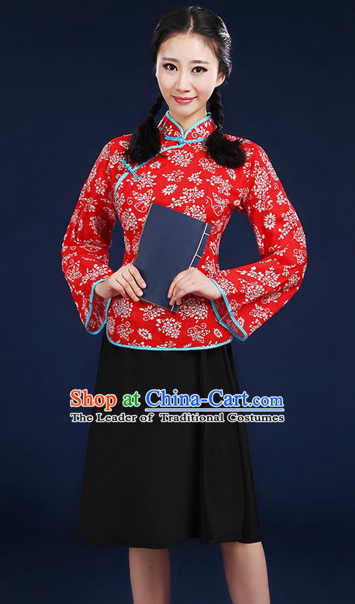 Traditional Chinese Style Modern Dancing Compere Costume, Women Chorus Singing Group Opening Classic Dance Republic of China Students Red Uniforms, Modern Dance Cheongsam Blouse Dress for Women