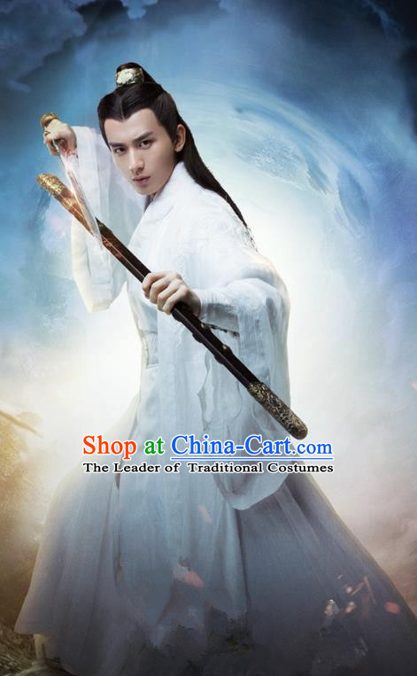 Traditional Ancient Chinese Elegant Swordsman Costume, Chinese Jiang hu Taoist Priest Disciple Dress, Cosplay Chinese Television Drama Jade Dynasty Qing Yun Faction Young Justice Hanfu Clothing for Men