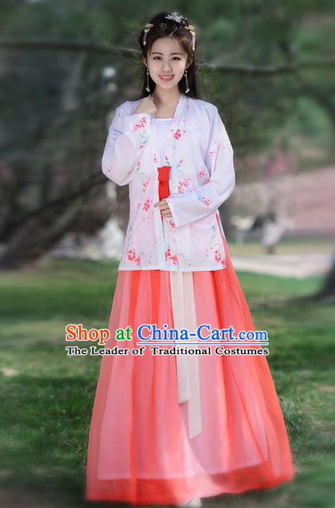 Traditional Ancient Chinese Young Lady Costume Embroidered Blouse Boob Tube Top and Skirt Complete Set , Elegant Hanfu Suits Clothing Chinese Song Dynasty Imperial Princess Dress Clothing for Women