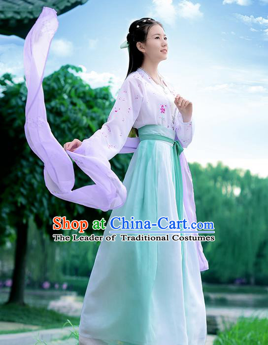 Traditional Ancient Chinese Young Lady Costume Embroidered Blouse Boob Tube Top and Green Slip Skirt Complete Set , Elegant Hanfu Suits Clothing Chinese Song Dynasty Imperial Princess Dress Clothing for Women
