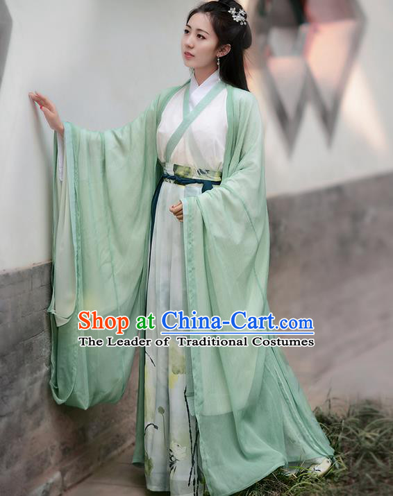 Traditional Ancient Chinese Young Lady Elegant Costume Embroidered Wide Sleeve Cardigan Slant Opening Blouse and Skirt Complete Set , Elegant Hanfu Clothing Chinese Jin Dynasty Imperial Princess Clothing for Women
