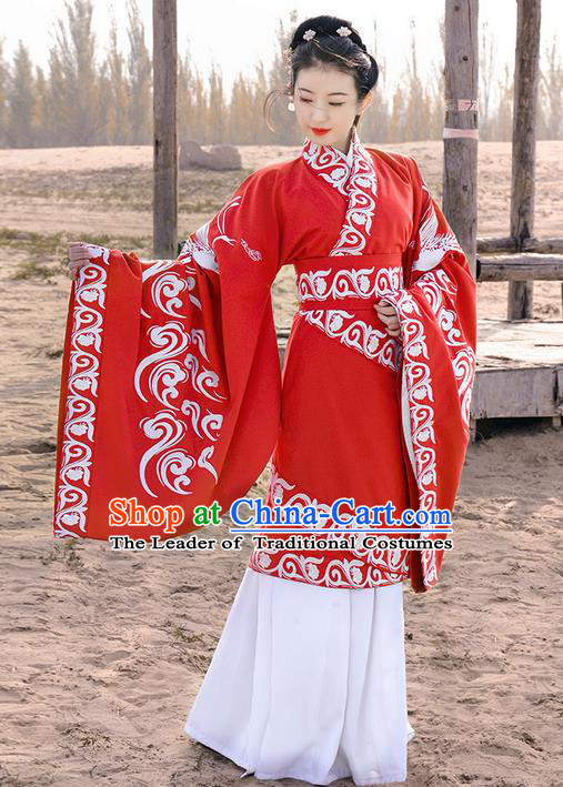 Traditional Ancient Chinese Young Lady Costume Embroidered Song Fringing and Corset Belt, Elegant Hanfu Curving-Front Unlined Garment Dress ChineseHan Dynasty Imperial Princess Dress Clothing for Women