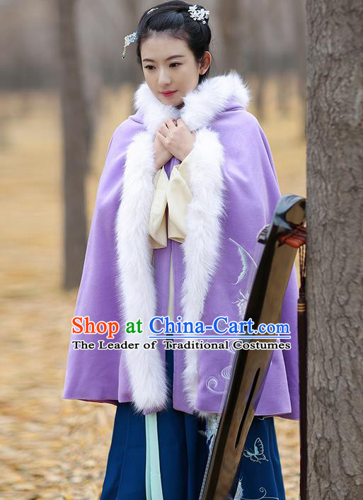 Traditional Chinese Ancient Ming Dynasty Princess Embroidered Wool Purple Mantle Cape for Women