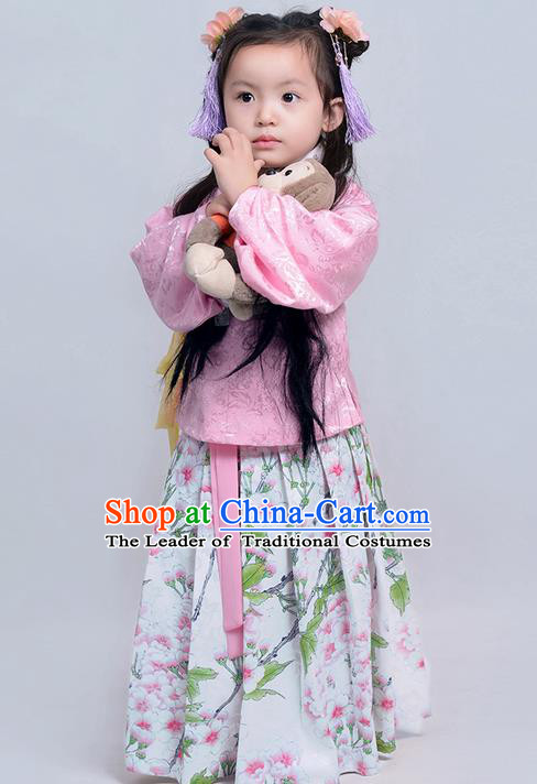 Traditional Ancient Chinese Children Girls Elegant Costume Embroidered Slant Opening Blouse and Slip Skirt Complete Set, Elegant Hanfu Clothing Chinese Ming Dynasty Imperial Princess Clothing for Kids