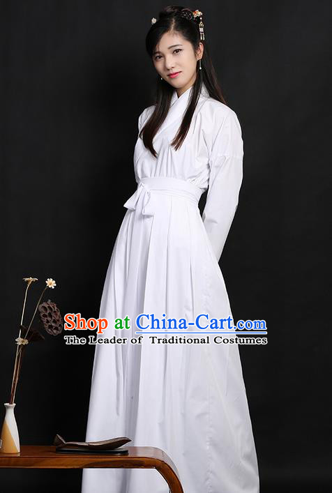 Traditional Ancient Chinese Young Lady Elegant Costume Slant Opening Blouse and Skirt Complete Set, Elegant Hanfu Pajamas Clothing Chinese Han Dynasty Imperial Princess Clothing for Women