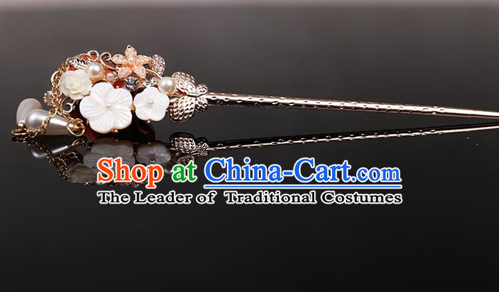 Traditional Handmade Chinese Ancient Classical Hair Accessories Bride Wedding Barrettes, White Hair Sticks Hair Jewellery, Hair Fascinators Hairpins for Women