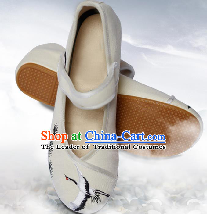 Traditional Chinese Ancient Shoes, China Handmade Embroidered Crane Beige Shoes, Ancient Princess Shoes for Women