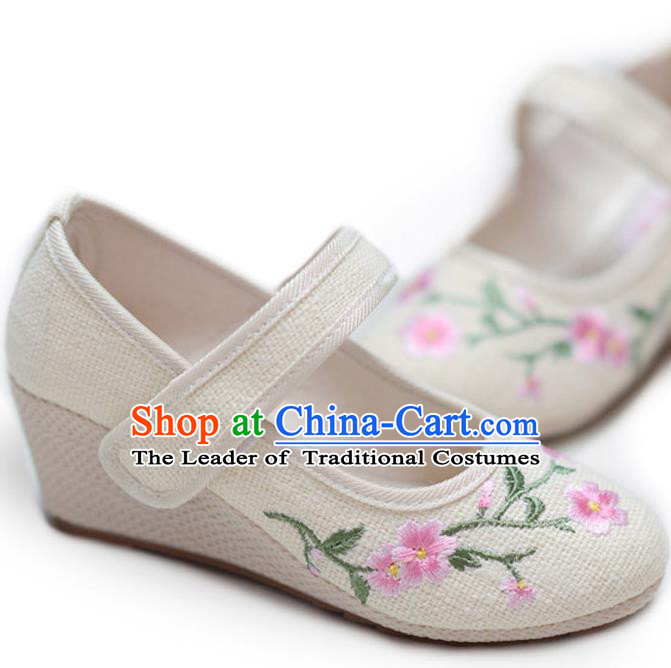 Traditional Chinese Ancient Shoes, China Handmade Embroidered Flowers Beige Shoes, Princess High-heeled Shoes for Women